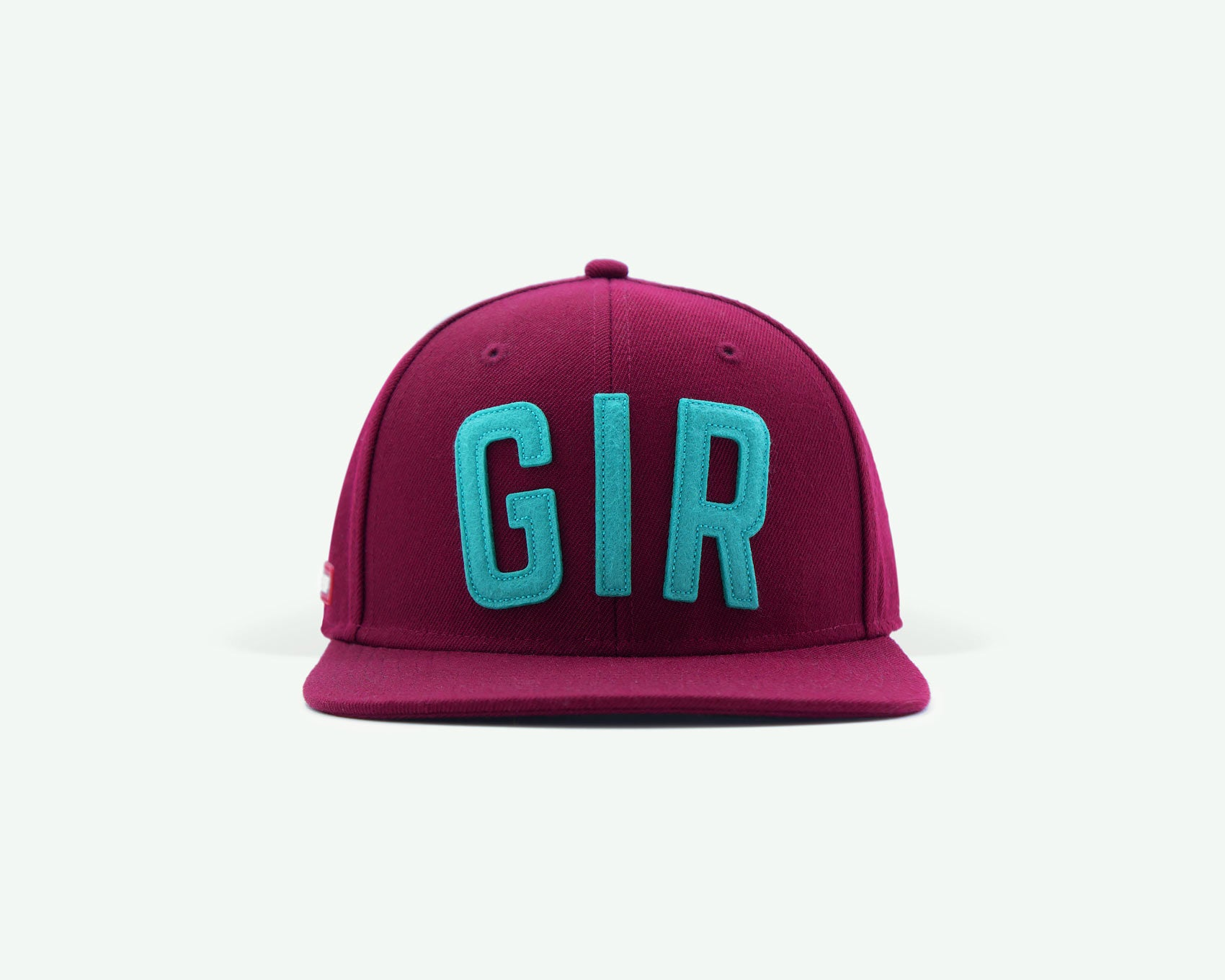 "107 ""GIR"" series burgundy red-mint green coloured structured wool blend 6-panel golf caps"
