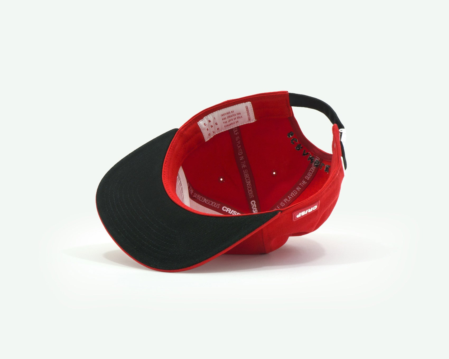 "109 ""Go Low"" Red coloured Semi-structured flat brim 5-panel golf cap with black cotton strap, white buckle and an embroidery patch"