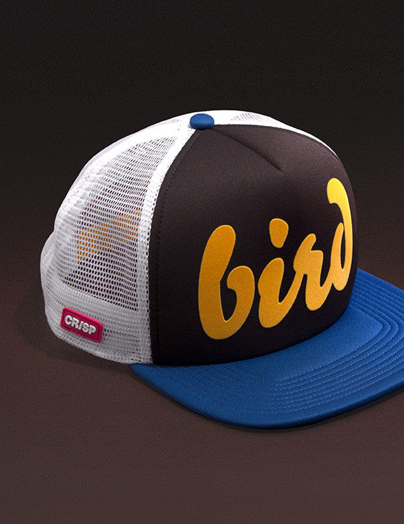 "112 ""Bird"" Brown/yellow/blue flat brim trucker golf cap"