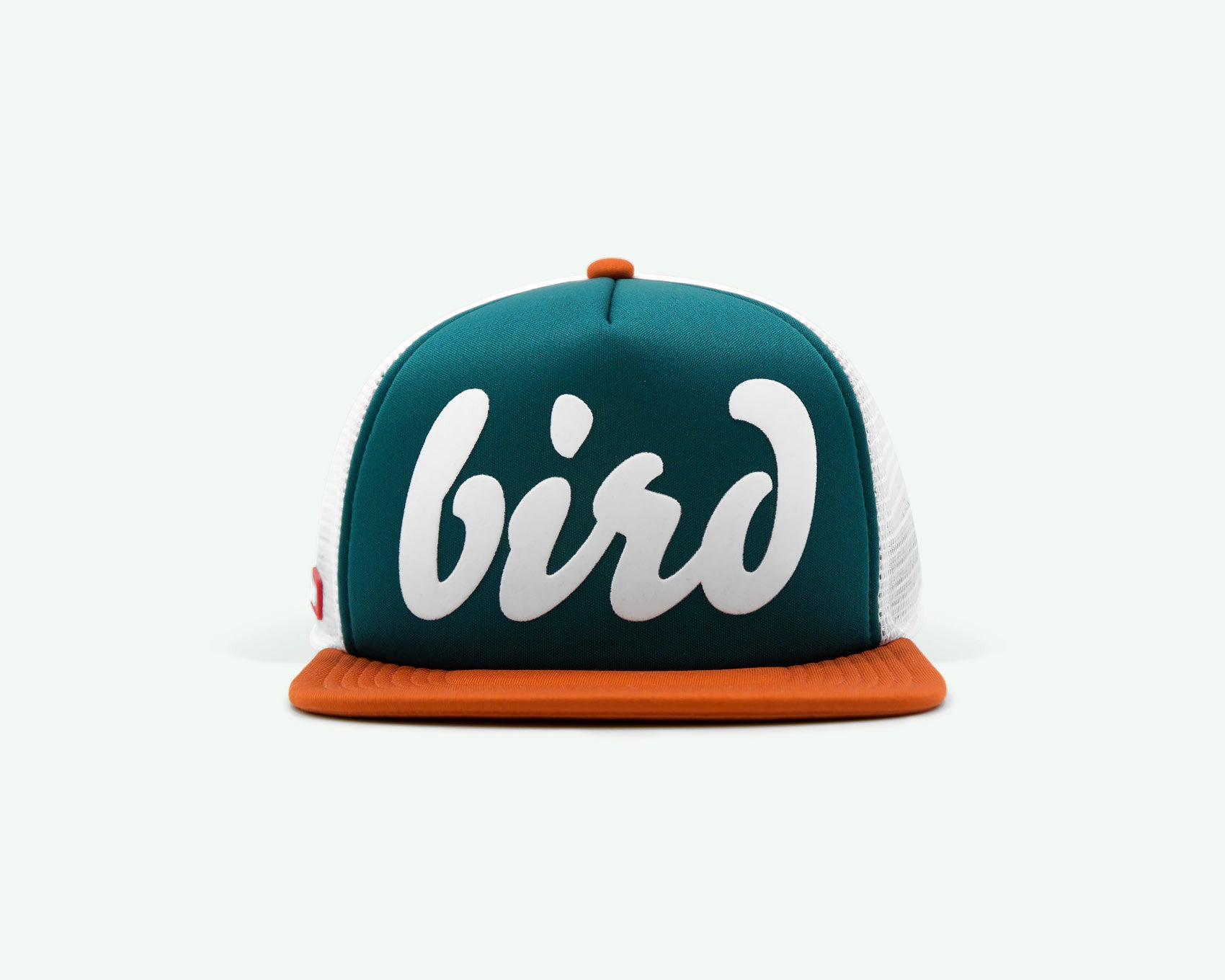 "112 ""Bird"" Green/white coloured flat brim trucker golf cap"