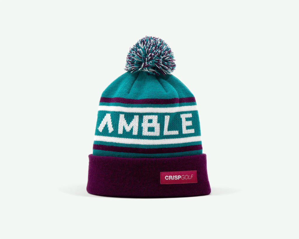"114 ""Scramble On"" Aqua blue/purple coloured fine-knit golf beanie. 100% acrylic"