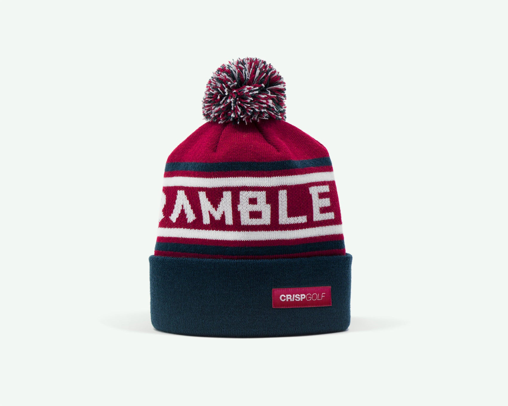 "114 ""Scramble On"" Red/Midnight blue coloured fine-knit golf beanie. 100% acrylic"