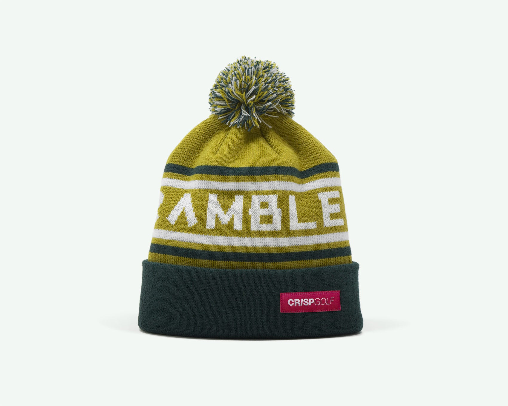 "114 ""Scramble On"" Olive/Hunter green coloured fine-knit golf beanie. 100% acrylic"