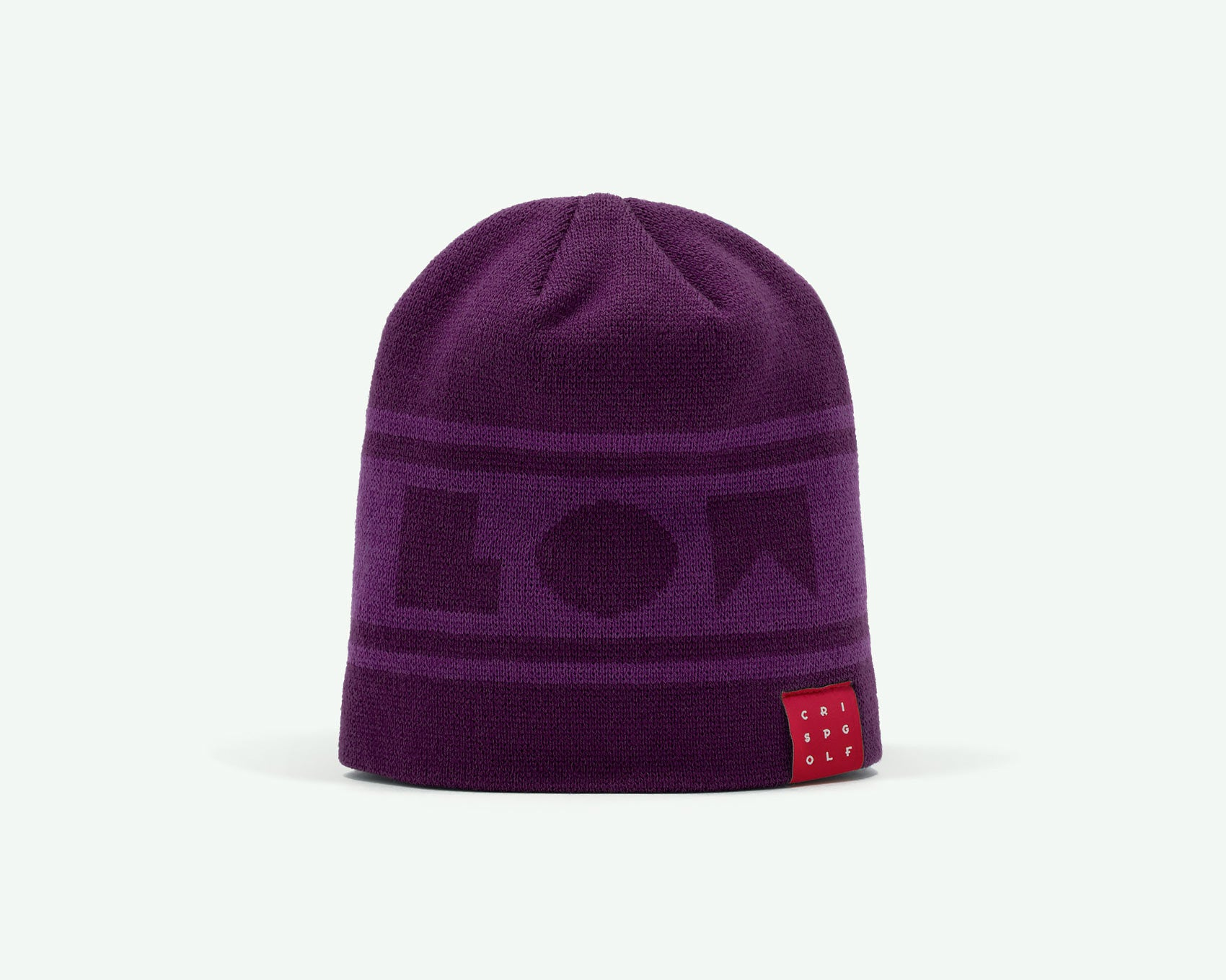 "116 ""Go Low"" Purple coloured fine-knit golf beanie. 100% acrylic"