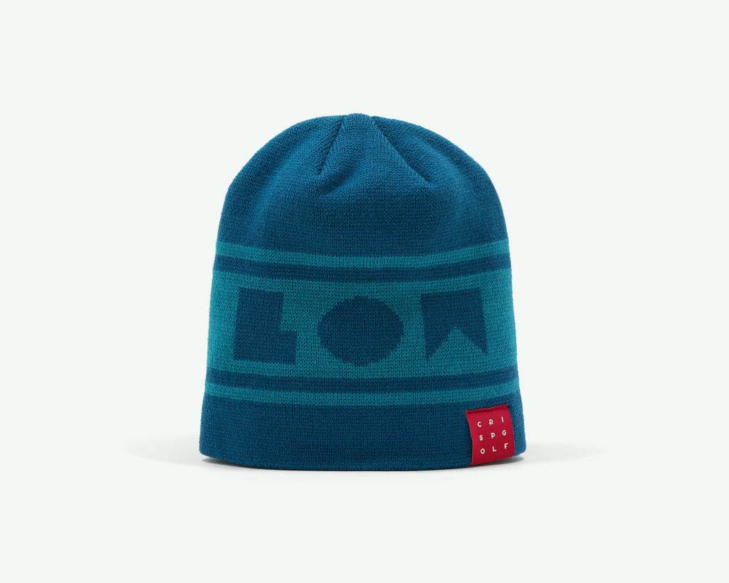 "116 ""Go Low"" Aqua blue coloured fine-knit golf beanie. 100% acrylic"