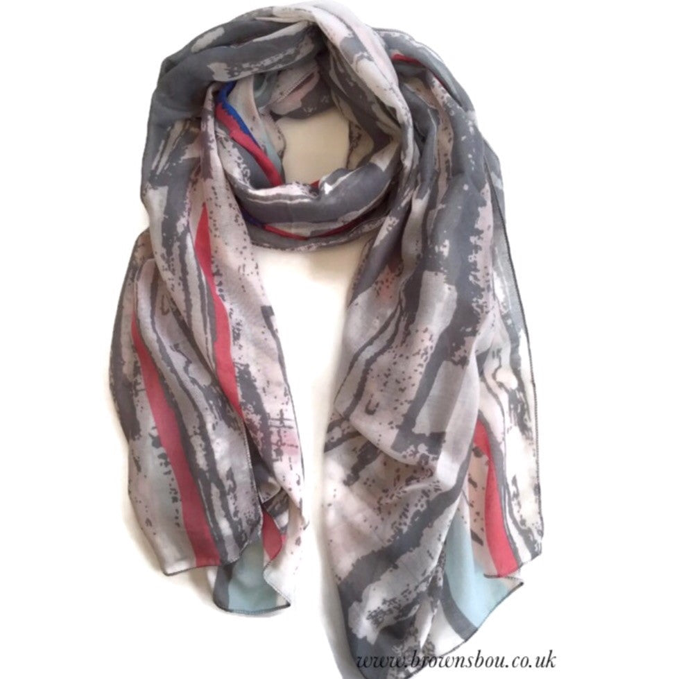 Abstract Scarf - Grey / Pink