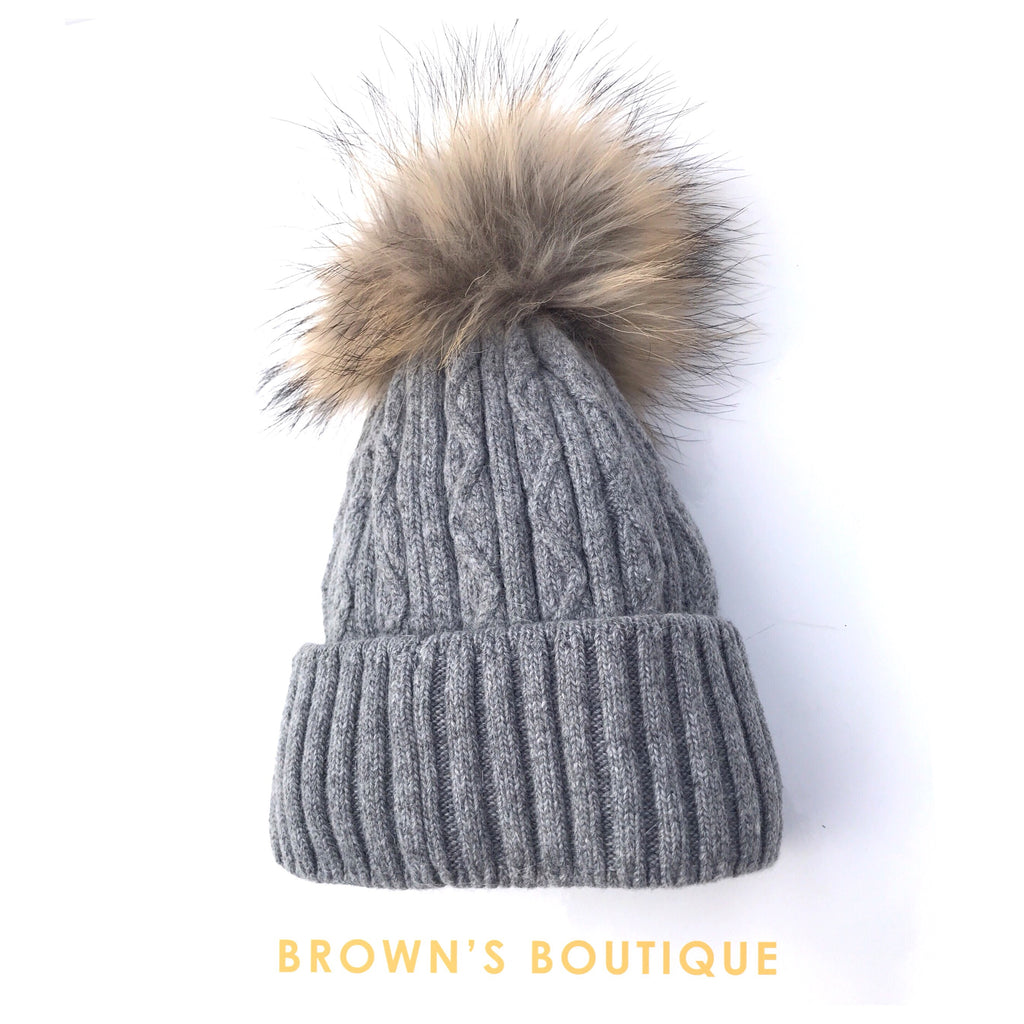 Cable Knit PomPom Hat - Grey