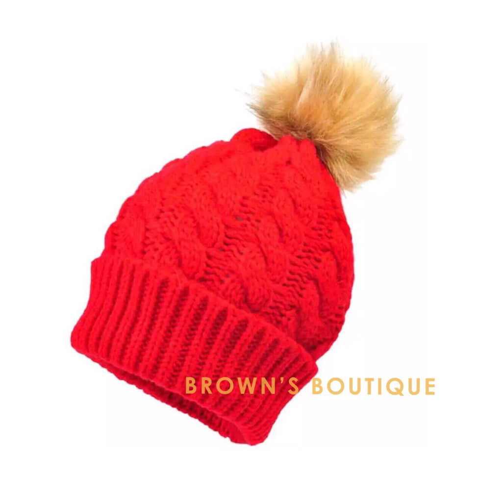 Children's Classic PomPom Hat - Red