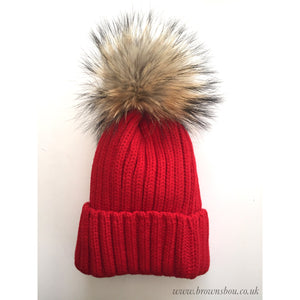 Classic PomPom Hat - Red