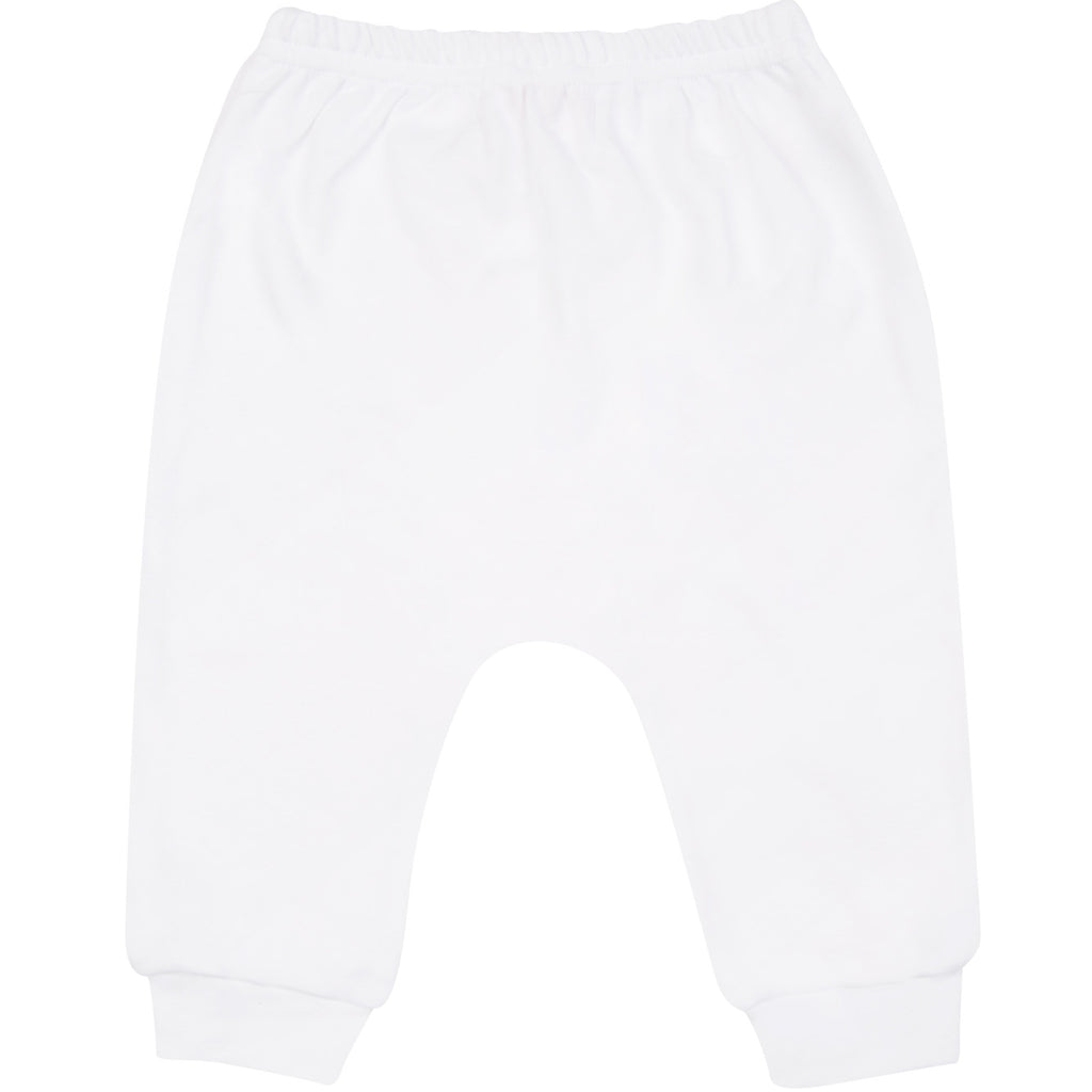 White cotton harem pants, with blue logo.