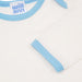 Long sleeve Tee in milk cotton, with blue trim and logo.