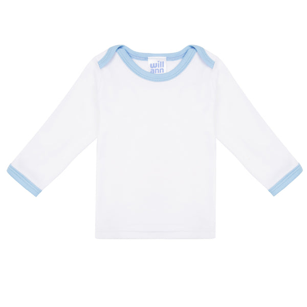 Long sleeve T-shirt in white, with blue logo.