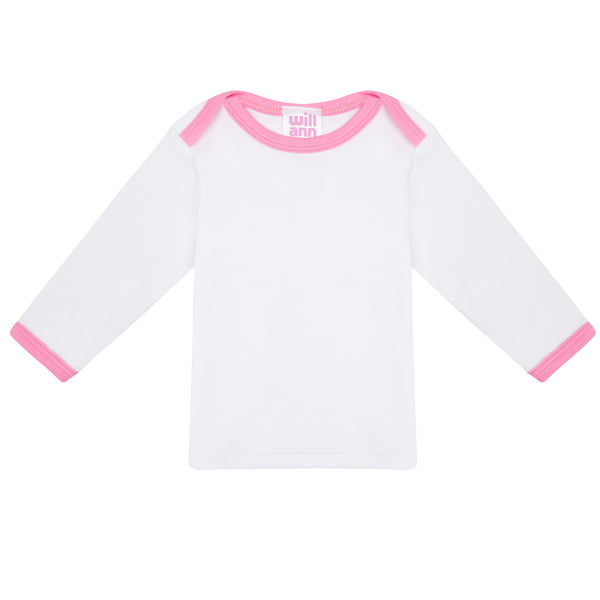 Long sleeve T-shirt in white, with pink logo.