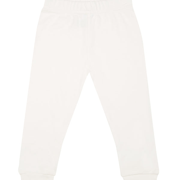 Milk coloured harem pants, with blue logo.