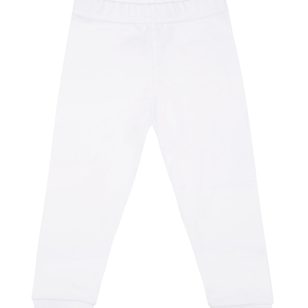 White cotton leggings, with blue logo.