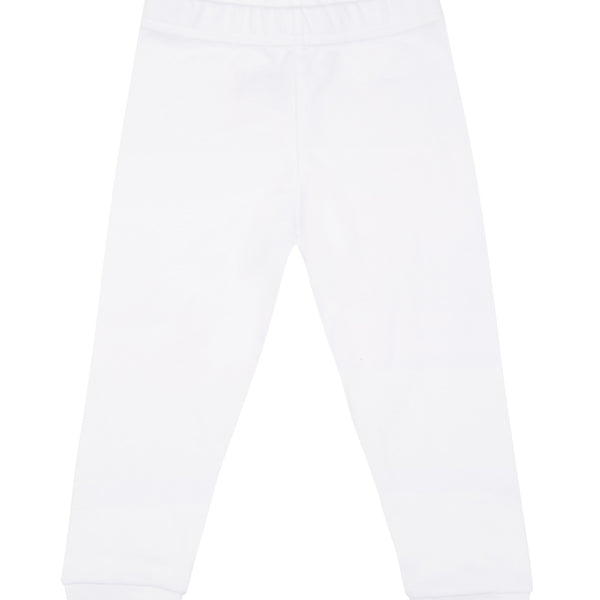 White cotton leggings, with pink logo.