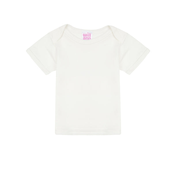 T-shirt in milk cotton, pink logo.