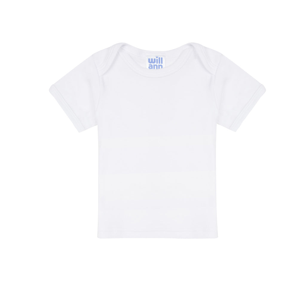 T-shirt in white cotton, blue logo.
