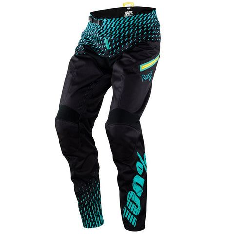PANTALONES LARGOS DESCENSO 100% R-CORE (SUPRA BLACK/CYAN)