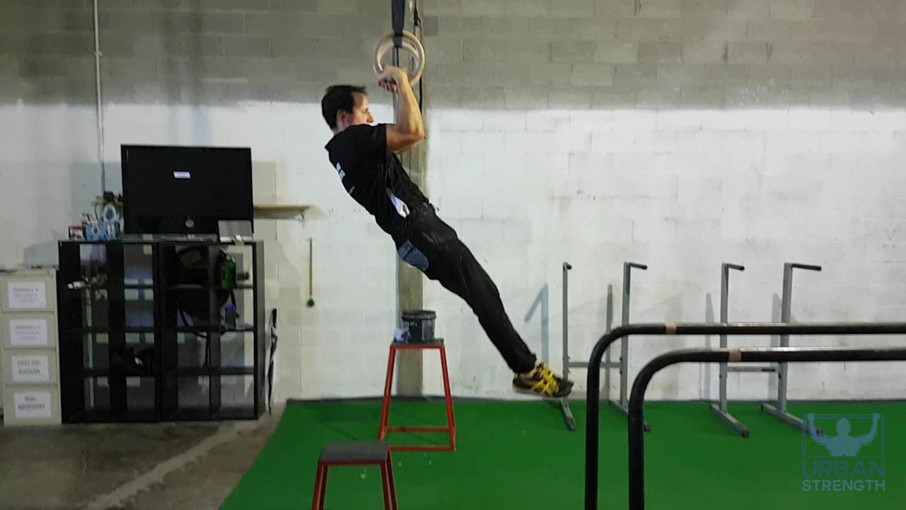 Pull up step of the gymnastic rings muscle up