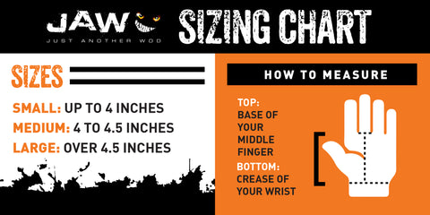 Jaw pull up glove sizing chart