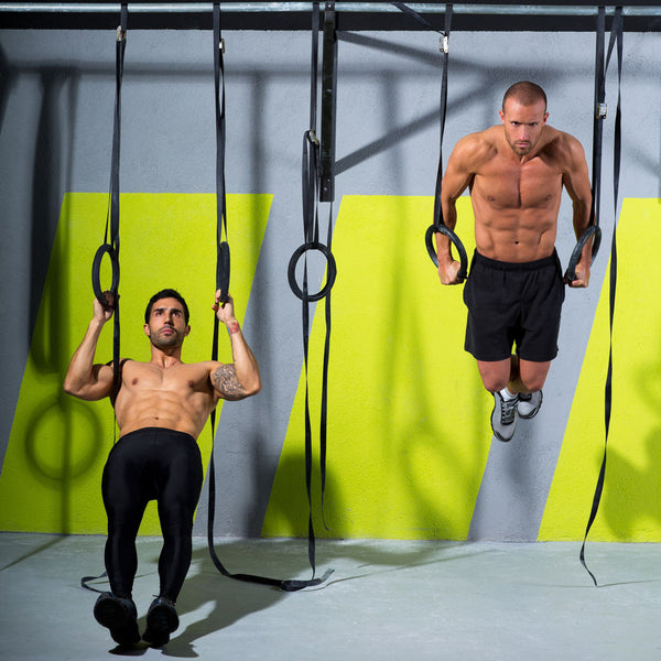 Archer row and dips on CrossFit rings