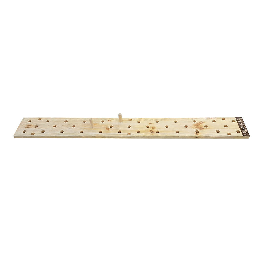 Climbing wooden peg board for Ninja Warrior training