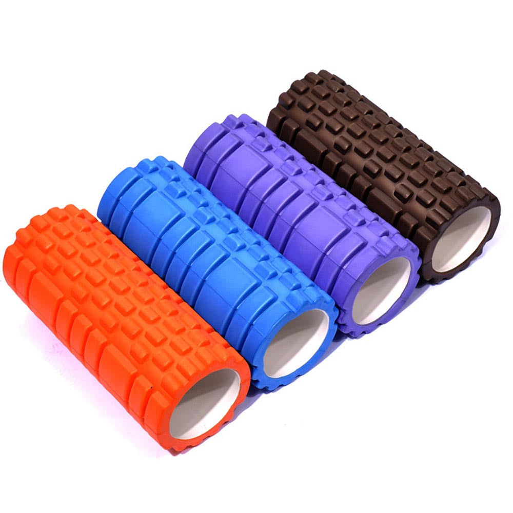 Foam Rollers orange, blue, purple, and black