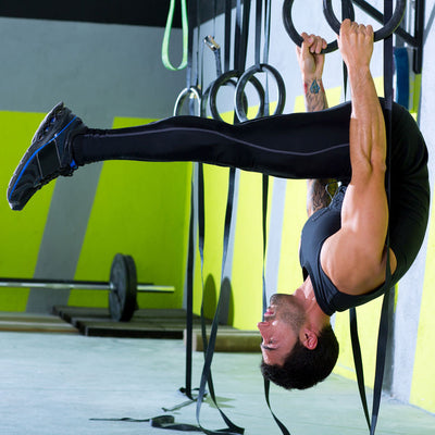 Inverted l-sit on CrossFit gym rings