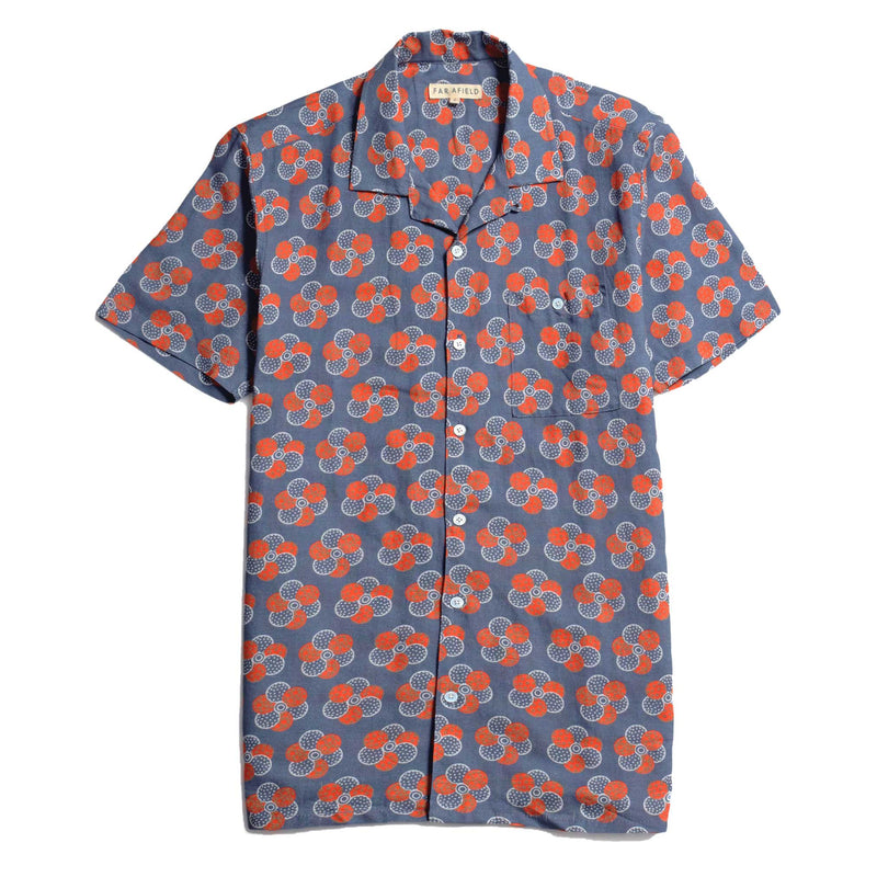 Selleck Short Sleeve Shirt - Floral Blue