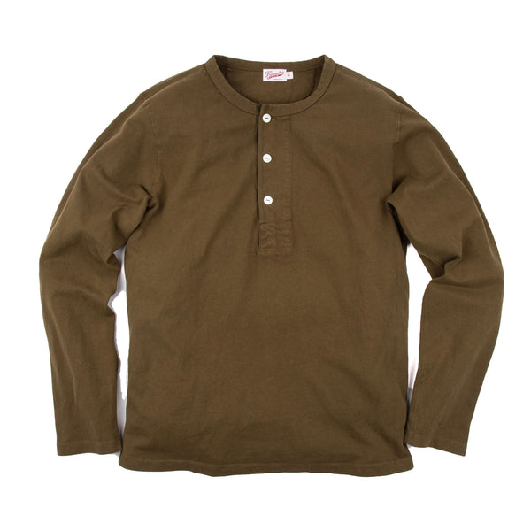 13oz Henley in Olive