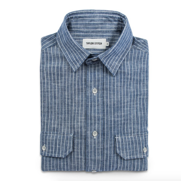 The Chore Shirt in Indigo Striped Chambray