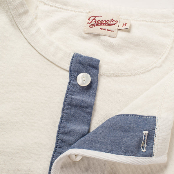 13oz Henley in White