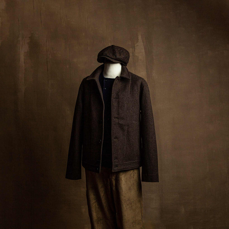 Atlas Short Wool Felt Jacket in Brown