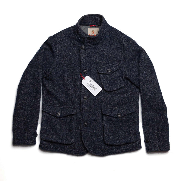 Navy Donegal Curly Tweed Jacket - XL