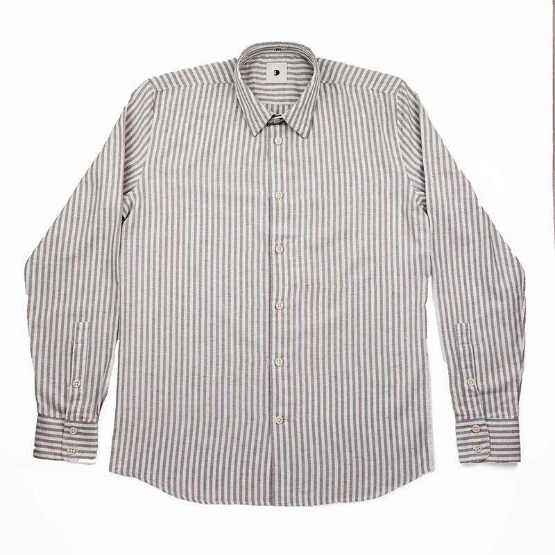 Feel Good Beige Stripe Linen Shirt - The Revive Club