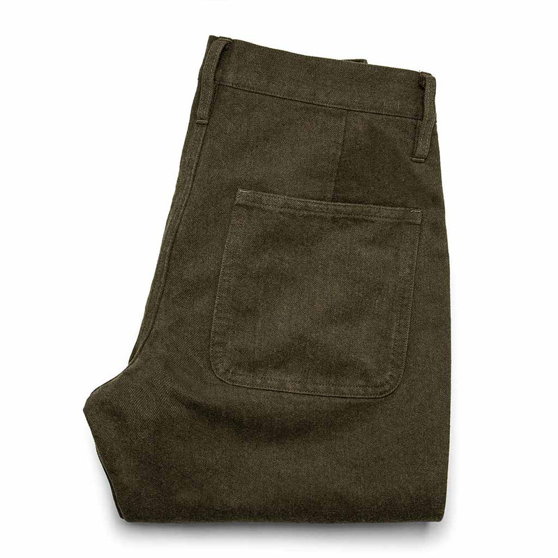 The Camp Pant in Heather Olive Twill - The Revive Club