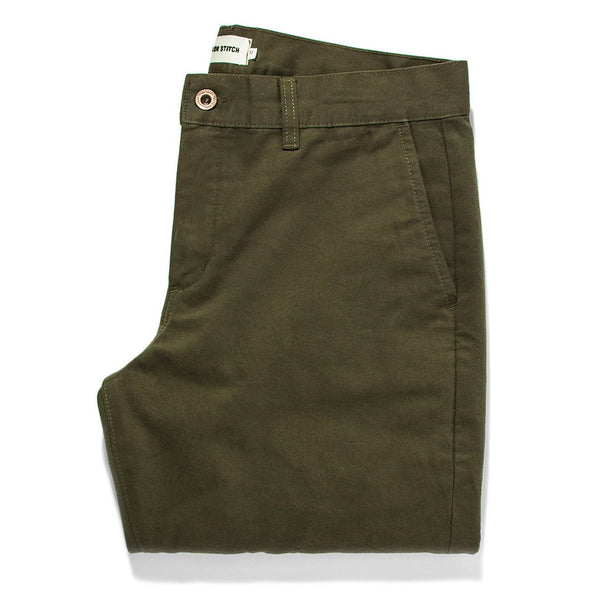 The Slim Chino in Organic Olive - The Revive Club