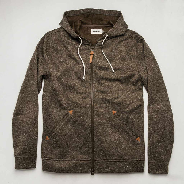 The Après Hoodie in Olive Hemp Donegal - The Revive Club