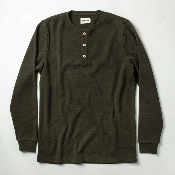 The Heavy Bag Waffle Henley in Olive