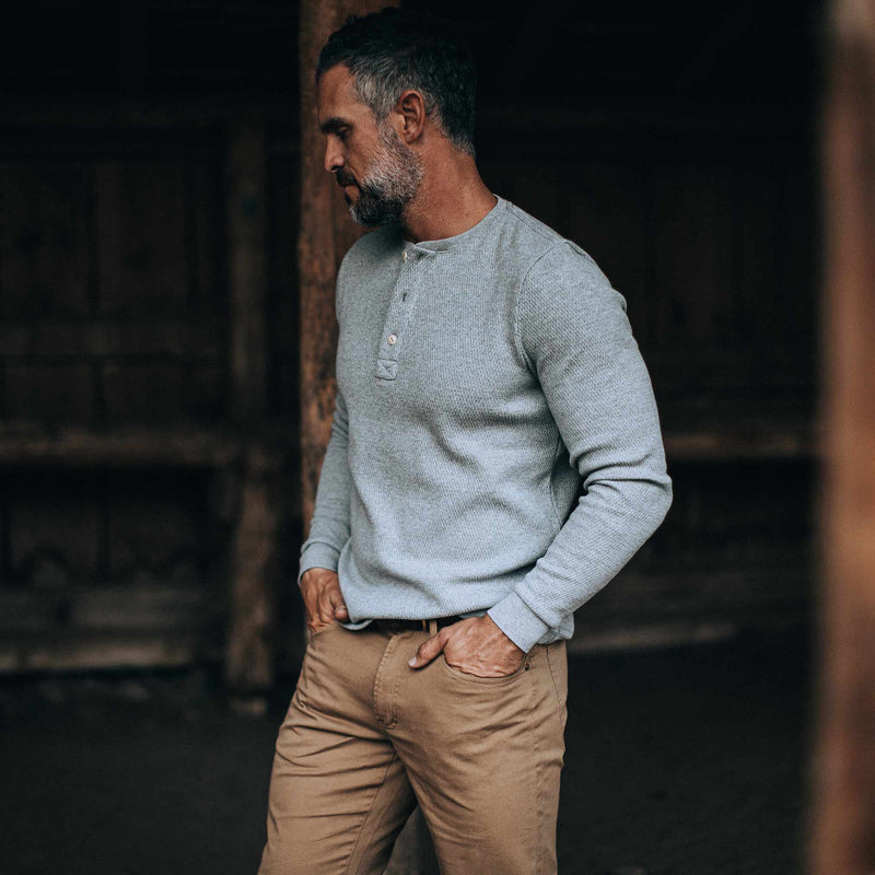 The Heavy Bag Waffle Henley in Ash