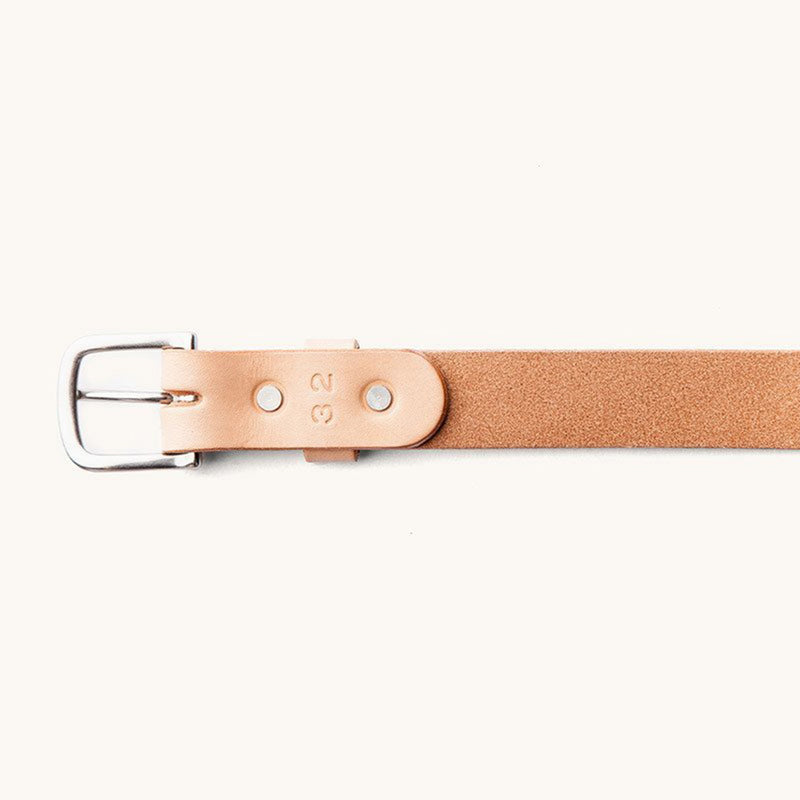 Classic Belt - Natural / Brushed Steel - The Revive Club