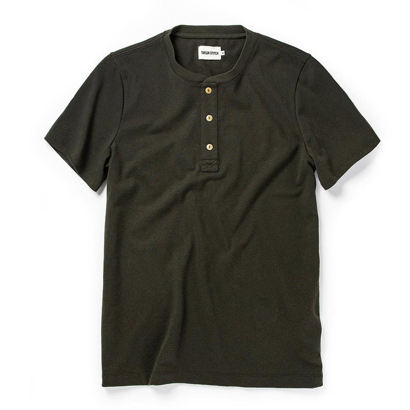 Short Sleeve Heavy Bag Henley in Cypress - The Revive Club