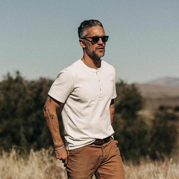 Short Sleeve Heavy Bag Henley in Natural - The Revive Club