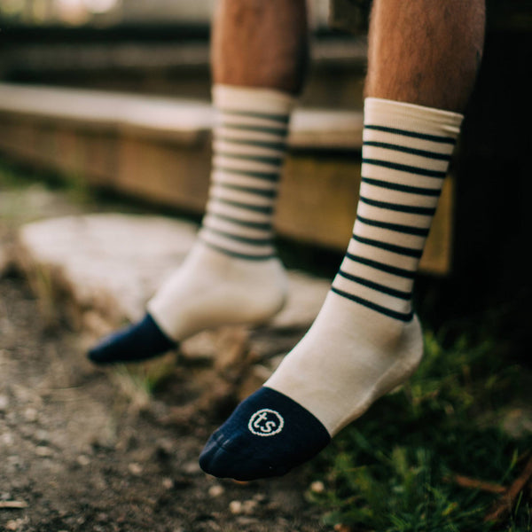 The Merino Sock in Natural Stripe