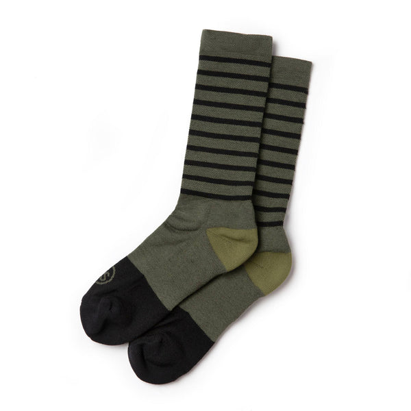 The Merino Sock in Olive Stripe