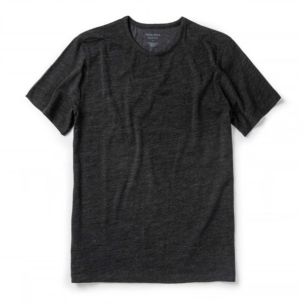 Merino Tee in Heather Black