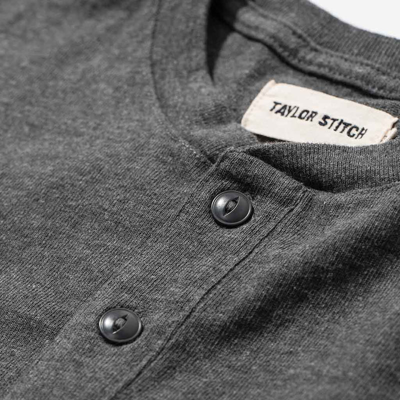 The Heavy Bag Henley in Heather Grey - The Revive Club