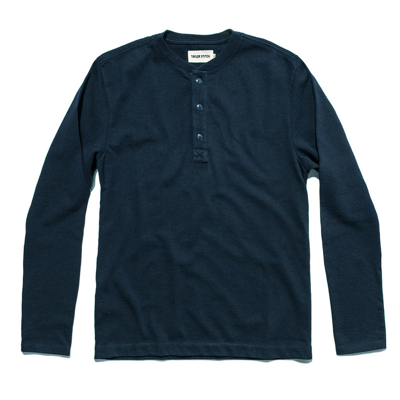 The Heavy Bag Henley in Navy - The Revive Club