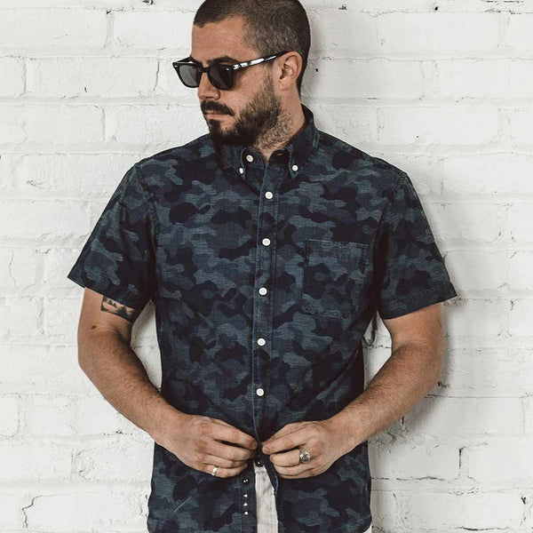 Short Sleeve Jack in Indigo Jacquard - The Revive Club